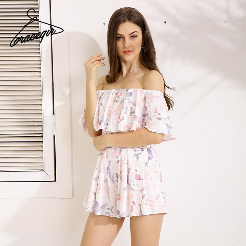Women Playsuit Series Spring Off Shoulder Ruffles Floral Print Sweet Romper Jumpsuit For Women-ROMPERS & JUMPSUITS-SheSimplyShops