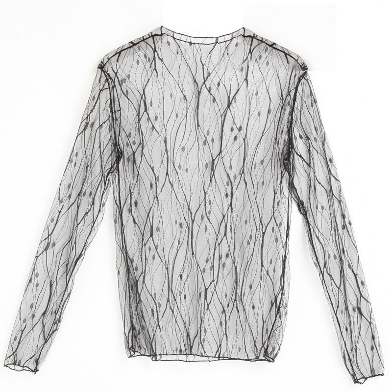 Sexy Basic Transparent T-Shirt Female Various Patterns See Through Women Mesh Tee Tops-SHIRTS-SheSimplyShops
