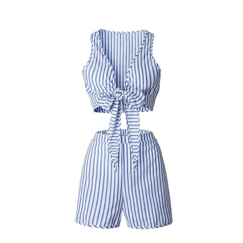 2 Piece Set Jumpsuit Romper Summer Blue Striped Backless Shorts-ROMPERS & JUMPSUITS-SheSimplyShops