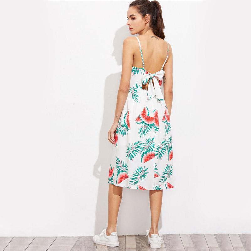 Women White Cut Out Bow Back Smock Slip Dresses Casual Beach Cute A Line Midi Dress-Dress-SheSimplyShops