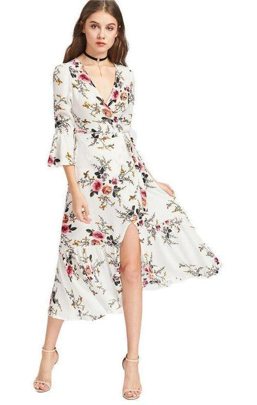 Chiffon Summer Dress Women Floral V Neck Sexy Slit Side Elegant Midi Dresses Flare Sleeve Casual Beach Dress-Dress-SheSimplyShops