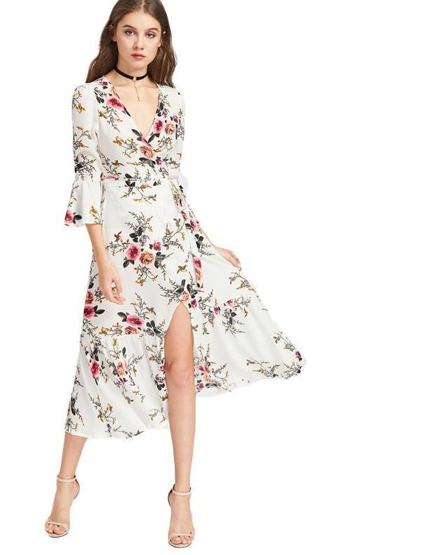 Women Floral V Neck Sexy Slit Side Elegant Midi Dresses Flare Sleeve Casual Beach Dress-Dress-SheSimplyShops