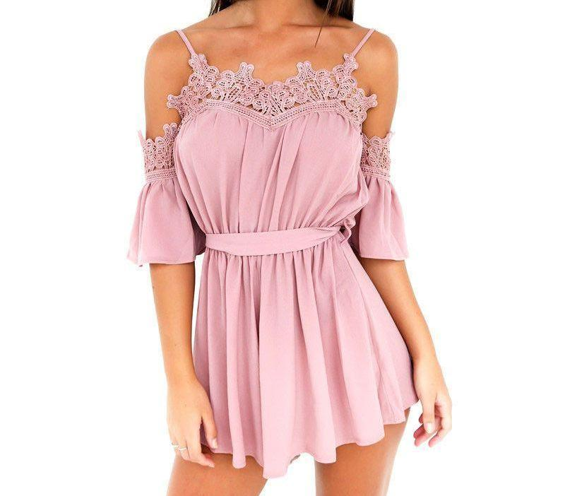 Crochet Lace Trim Chiffon Play suit New Belted Beach Bohemian Rompers-ROMPERS & JUMPSUITS-SheSimplyShops