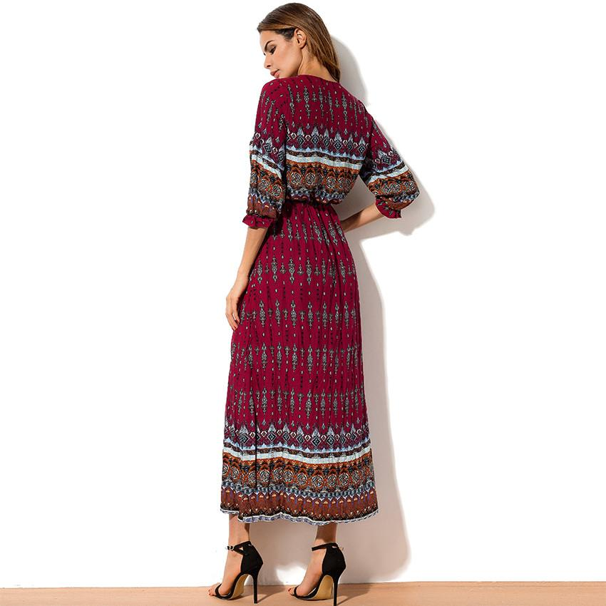 Maxi Dress Summer Fashion Holiday Printed Long Dresses Women Open Slit Buttons Bohemian Dress With Half Sleeve-Dress-SheSimplyShops