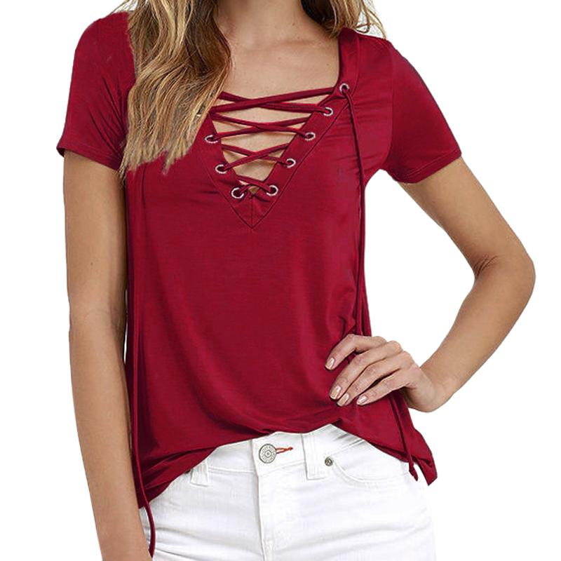 Sexy Lace UP T-Shirts Female Short Sleeve Deep V Neck Shirt Tops Women Solid Casual Summer Tee Shirts-SHIRTS-SheSimplyShops