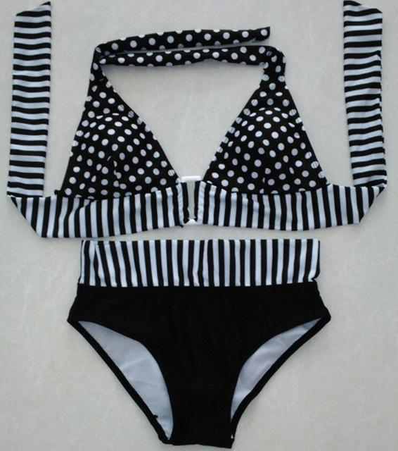 Polka Dot Top/Stripped Bottom Bikini-Bottoms-SheSimplyShops
