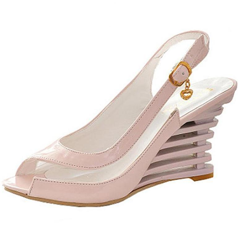 ENMAYER Wedge Heel Sandals Buckle Style Open Toe Shoes transparent Women Summer Shoes Patent PU Sexy Summer Brand Shoes Woman-SHOES-SheSimplyShops