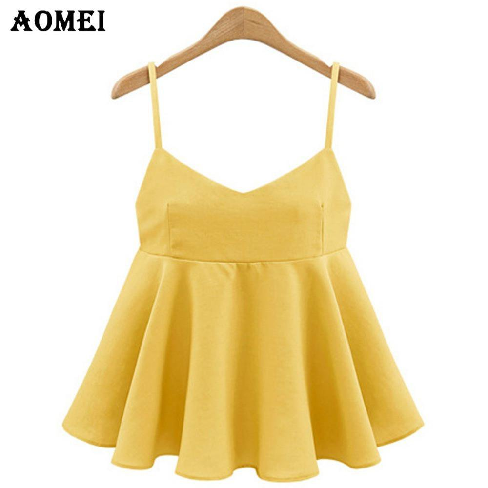 Women Fashion Yellow Color Summer Tank Tops with Bow tie Blue Black Pleated Spaghetti Girls Beachwear Cropped Tops Clothing-Tanks-SheSimplyShops