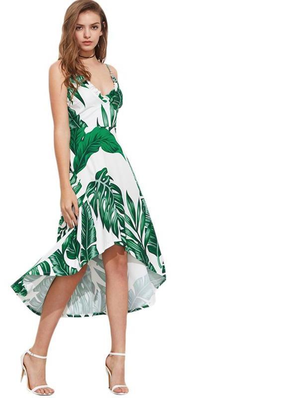 Palm Leaf Print Beach Dress Green O-Ring Ruffle Trim Women Elegant Dresses New Dip Hem Holiday Midi Dress-Dress-SheSimplyShops