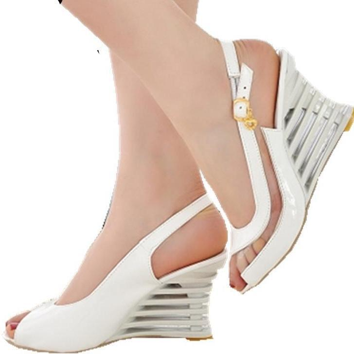 High Wedge Heel Sandals Buckle Style Open Toe Transparent Shoes Women's Summer Shoes Patent PU Sexy Summer Brand New Shoes-SHOES-SheSimplyShops