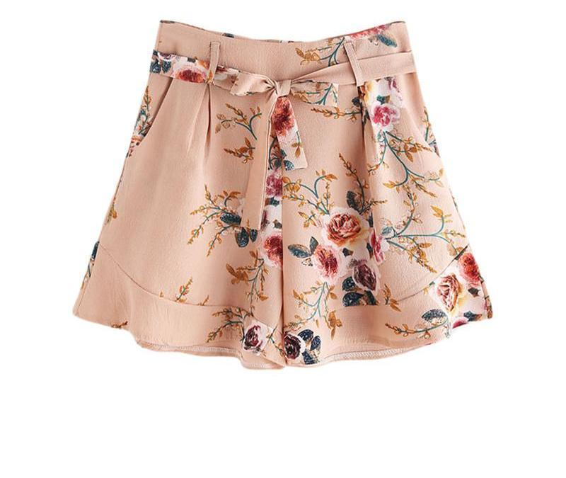 High Waist Calico Shorts Pink Self Tie Women Frill Hem Floral Print Summer Shorts New Cute Zip Up Casual Ladies Shorts-PANTS-SheSimplyShops