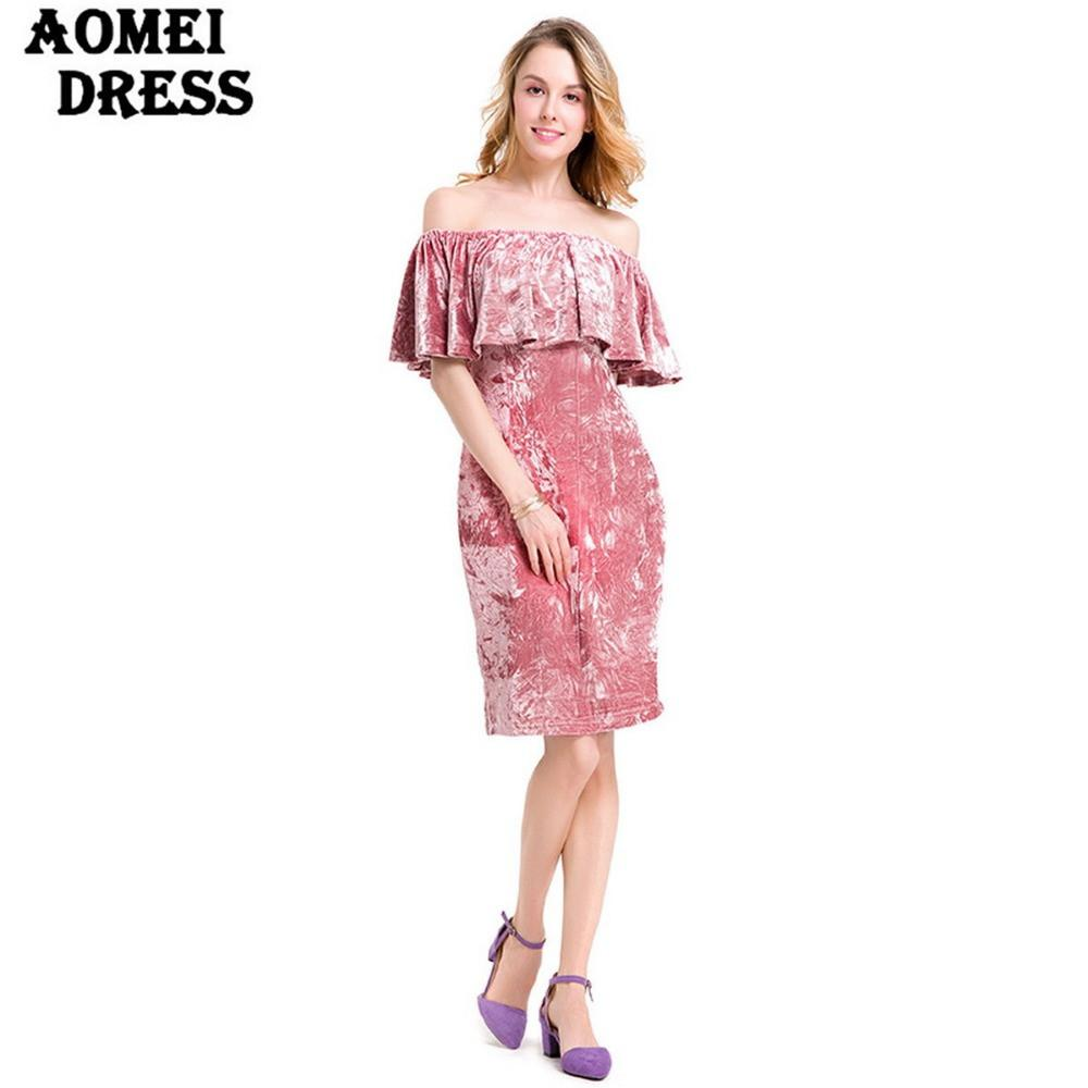 Off the Shoulder Pink Color Knee Length Dress with Ruffles Slim Ladies Evening Party Clothing Robes Spring-Dress-SheSimplyShops