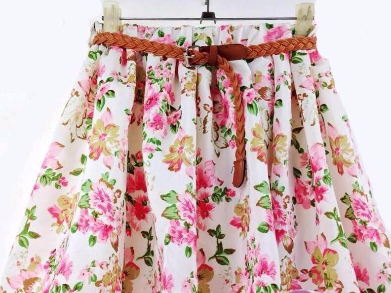 Floral Chiffon High waist Pleated Skirt-Dress-SheSimplyShops