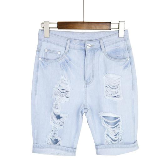 Cotton Casual Women's Jeans Short Dog Embroidery Holes Ripped Pockets Knee Length Denim Shorts-JEANS-SheSimplyShops