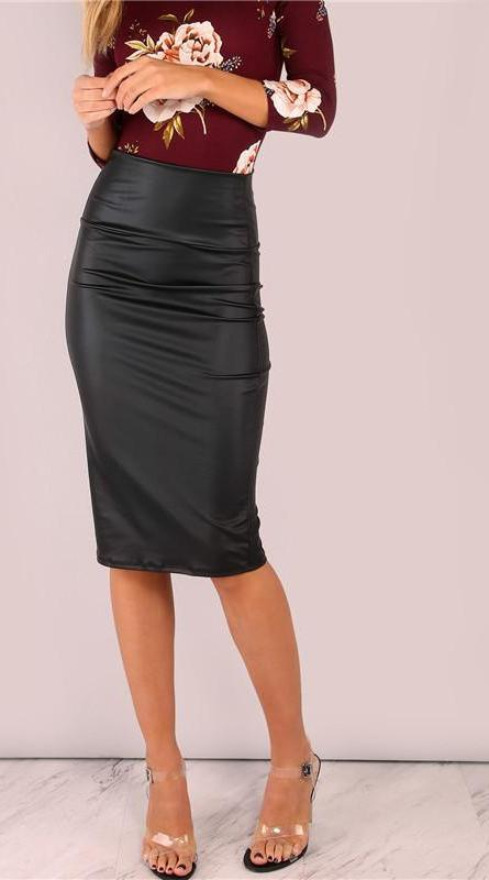 Black Coated Midi Pencil Skirt Wide Waistband Women High Waist Skirts New Sexy Lady Work Slim Skirt-Dress-SheSimplyShops