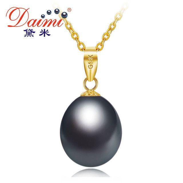 Black Pearl Yellow Gold Pendant Natural Freshwater Pearl Pendant Necklace Gift For Women-NECKLACES-SheSimplyShops