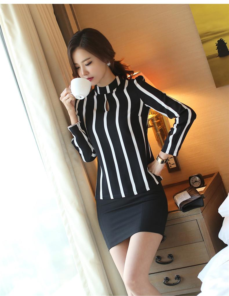 Korean Out Striped Blouse-Blouse-SheSimplyShops