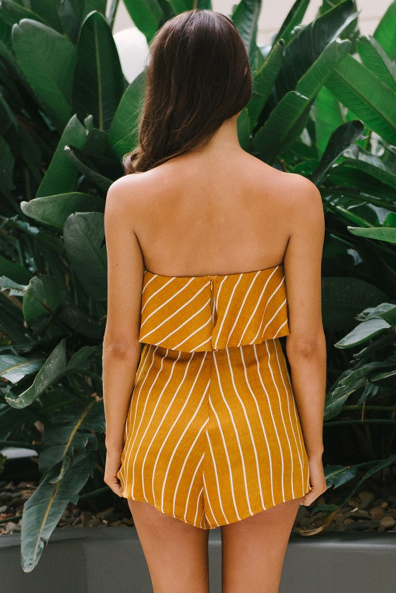 Yellow Striped Print Flouncing Ruffles Strapless Women's Playsuit Romper Off Shoulder Casual Boho Beach Summer Jumpsuit-ROMPERS & JUMPSUITS-SheSimplyShops