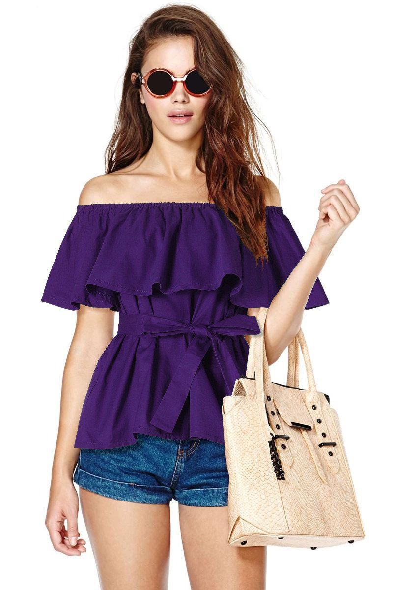 Summer Women Tops And Blouses Fashion Off Shoulder Shirt Women Slash Neck Casual Loose Cotton Ruffle Blouse With Bow Belt-Blouse-SheSimplyShops