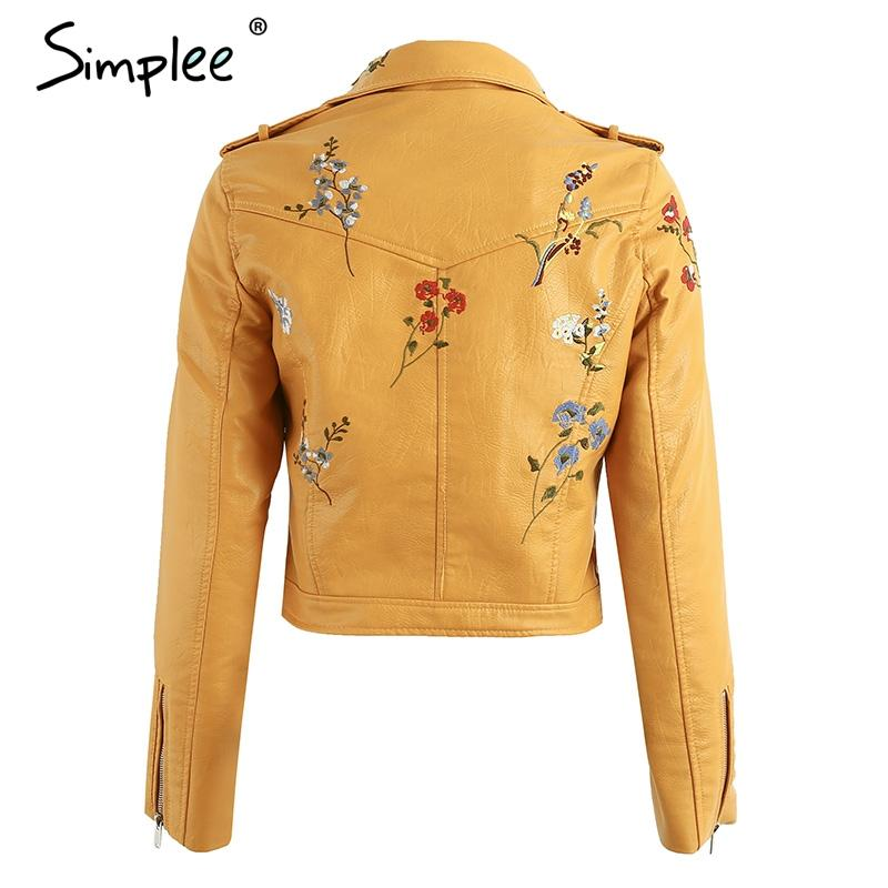 Embroidery faux leather coat Motorcycle zipper wine red leather jacket women Fashion cool outerwear winter jacket-Coats & Jackets-SheSimplyShops