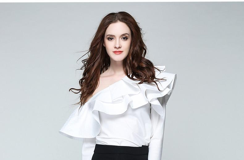 One Shoulder Ruffles Blouse Shirt Women Tops Summer Casual White Shirt Long Sleeve Cool Blouse-Blouse-SheSimplyShops