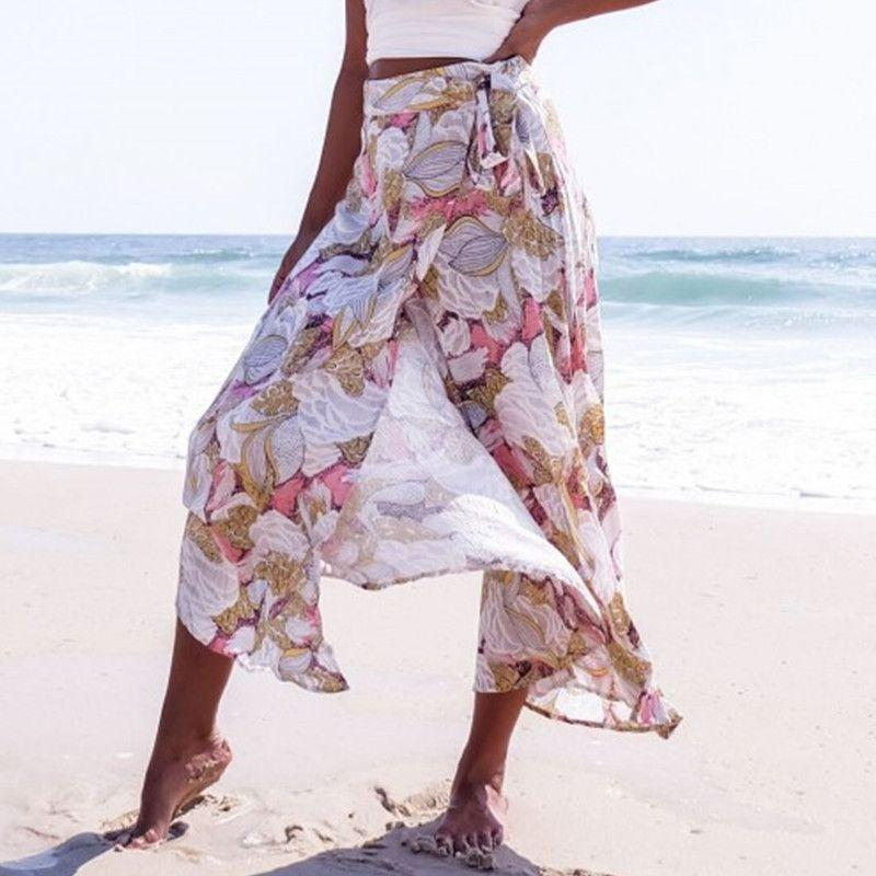 Aztec Trial Print Belted Wrap Skirt Bohemian Maxi Skirts New Summer Beach Cloth-Dress-SheSimplyShops