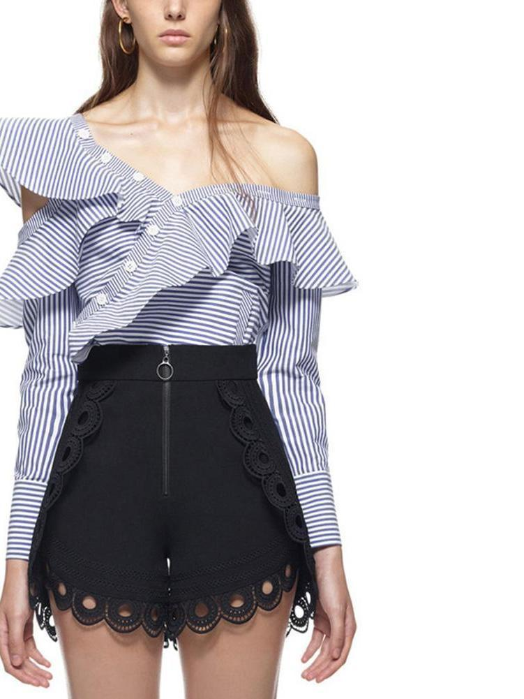 Summer One Shoulder Ruffles Blouse Shirt Women Tops Fashion Striped Print Casual Shirts Cool Blouse-Blouse-SheSimplyShops