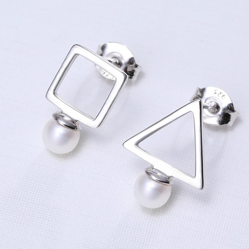 Geometric Pearl Earrings Silver Earrings About Round Freshwater Earrings Gift For Women-EARRINGS-SheSimplyShops