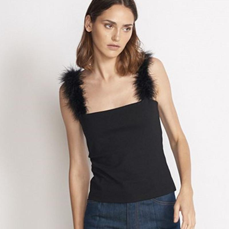 Fuzzy Rabbit Fur Spaghetti Stretchy Cropped Tops-Tops-SheSimplyShops