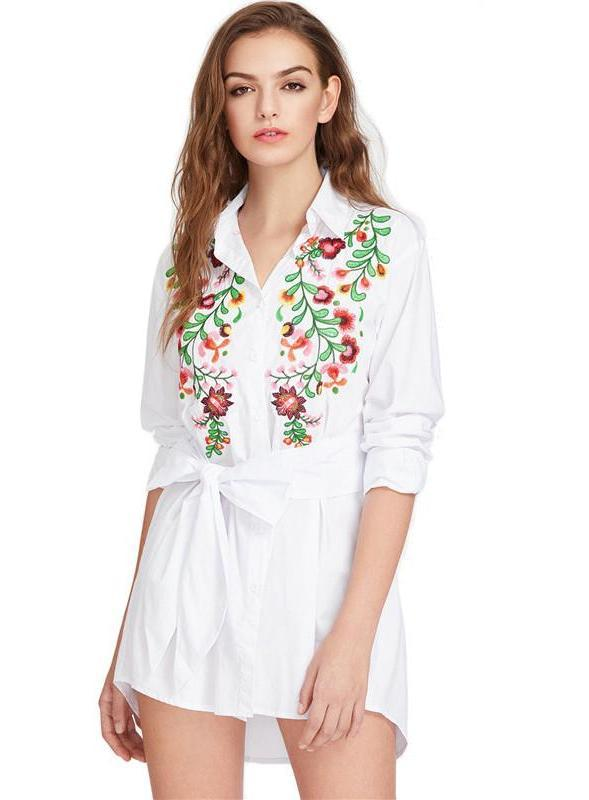 Flower Embroidered Self Belted Curved Shirt Casual Dress White Bow High Low Mini Dress Fashion Summer Dress-Dress-SheSimplyShops