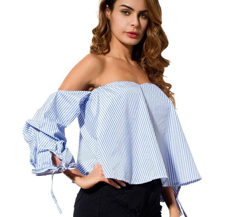 Loose Tops Women Clothes Summer Fashion Off Shoulder Shirt Striped Slash Neck Lace Up Women Blouses With Sleeve-Blouse-SheSimplyShops