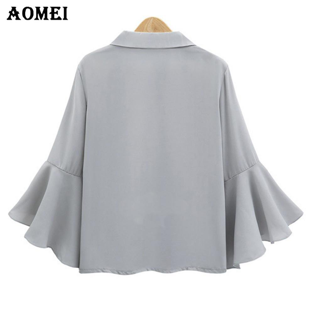 Gray Color Chiffon Blouse with Flare Sleeve for Women Fashion Summer Tops V Neck Female Blusas Shirts Casual Wear-Blouse-SheSimplyShops