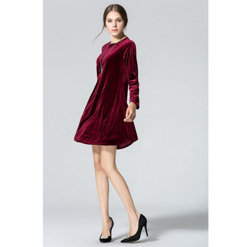 Long Sleeve Women Velvet Dresses Elegant Autumn Winter Slim Fashion Casual Wine Red Blue Gowns Clothing-Dress-SheSimplyShops