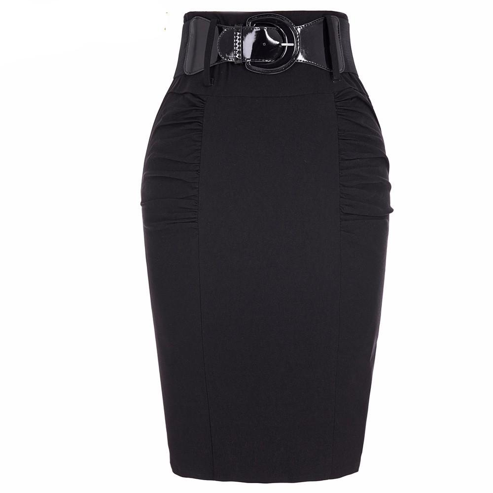 Women High Waist Vintage Retro Pencil Skirts With Belt Femme Office-Dress-SheSimplyShops
