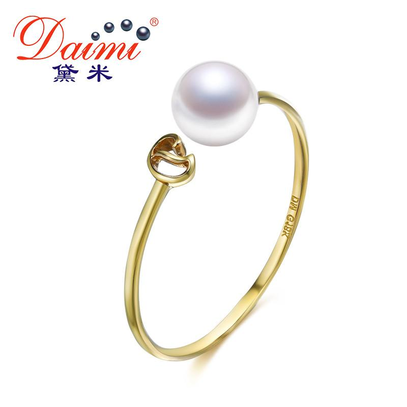 Natural Pearl Ring Genuine Gold Ring White Freshwater Pearl Ring Brand Jewelry Gift For Women-JEWELRY-SheSimplyShops