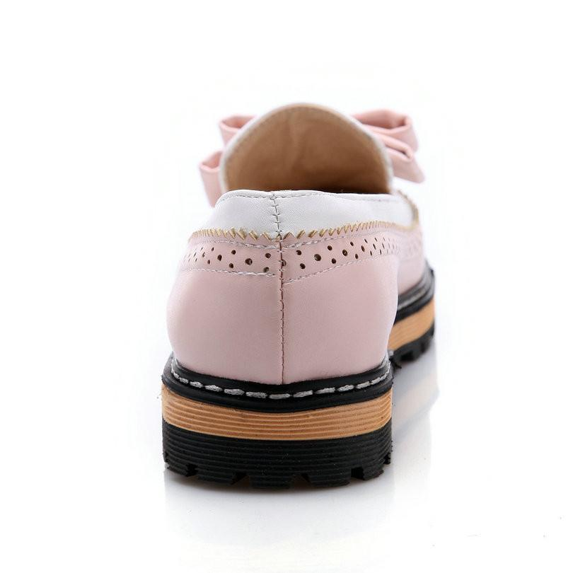 ESVEVA Spring/Autumn Slip On Round Toe Flat Women Shoes Mixed Color Lace Shallow Mouth PU Soft Leather Miss Shoes Size 34-43Pink-SLIPS-SheSimplyShops