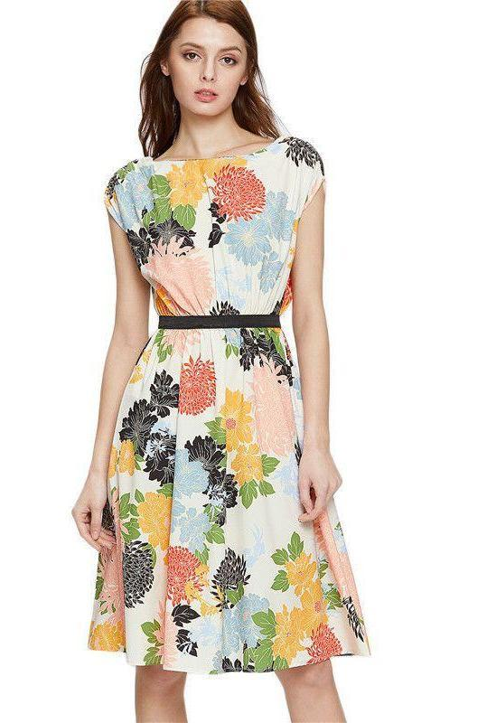Cute Summer Dress Women Multi color Floral Print A Line Dresses With Self Tie Fashion Casual Sleeveless Midi Dress-Dress-SheSimplyShops
