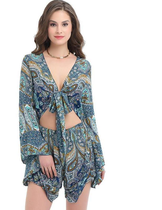 Women Jumpsuit Sexy Deep V-Neck Casual Loose Elegant Print Beach Romper Short-ROMPERS & JUMPSUITS-SheSimplyShops