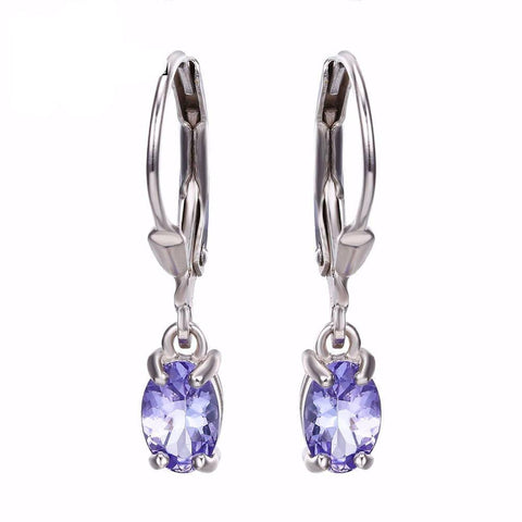 100% Natural Tanzanite Earrings Clip Gemstone Jewelry Real Pure Genuine 925 Solid Sterling Silver Brand New Gift For Women-EARRING-SheSimplyShops