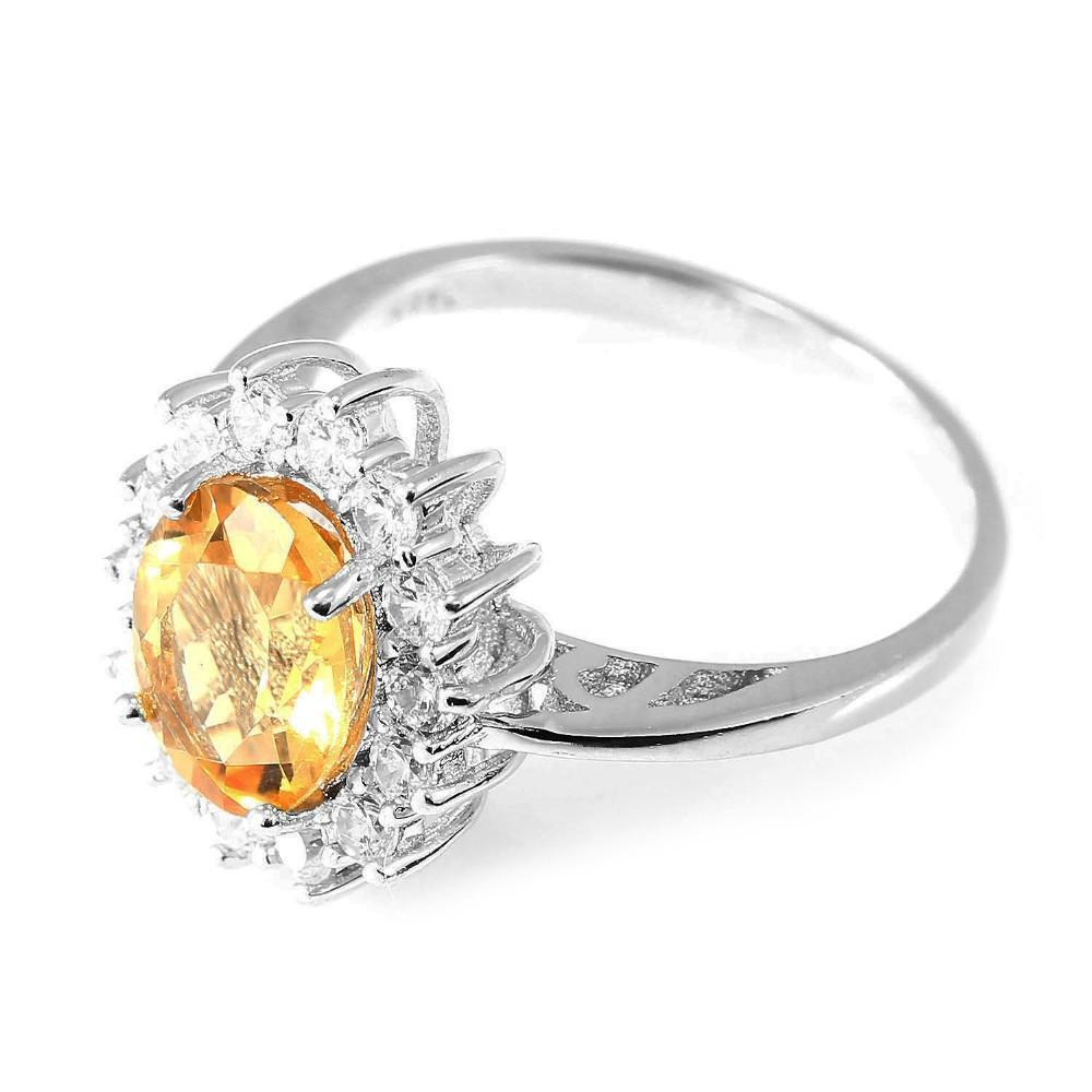 Princess Diana 1.5ct Natural Citrine Gemstone Ring Pure Solid Genuine 925 Sterling Silver Brand New Gift For Women Jewelry-JEWELRY-SheSimplyShops