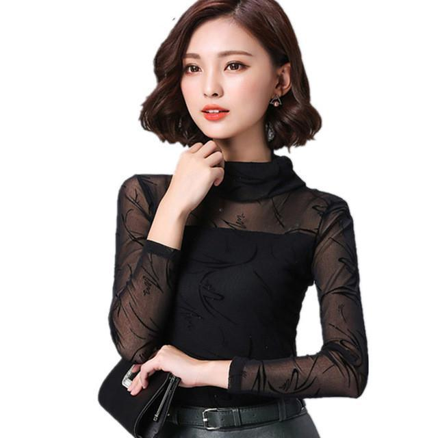 Sexy Mesh Lace Shirts Stretchy Turtleneck Tops-Blouse-SheSimplyShops