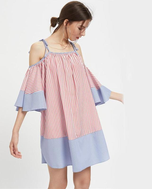 Striped Flute Sleeve Tunic Dress Cute Ladies Tie Shoulder Slip Summer Dresses Women Casual Beach Patchework Dress-Dress-SheSimplyShops