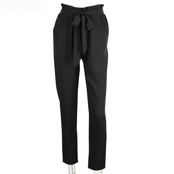 Apparel OL chiffon high waist harem pants Women summer style casual pants female New black trousers-PANTS-SheSimplyShops