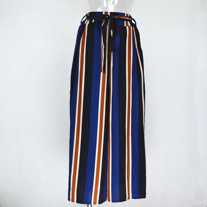 Women's Sexy Loose Fit Bow Tie Striped Print Wide Leg Pants High Side Slit.-PANTS-SheSimplyShops