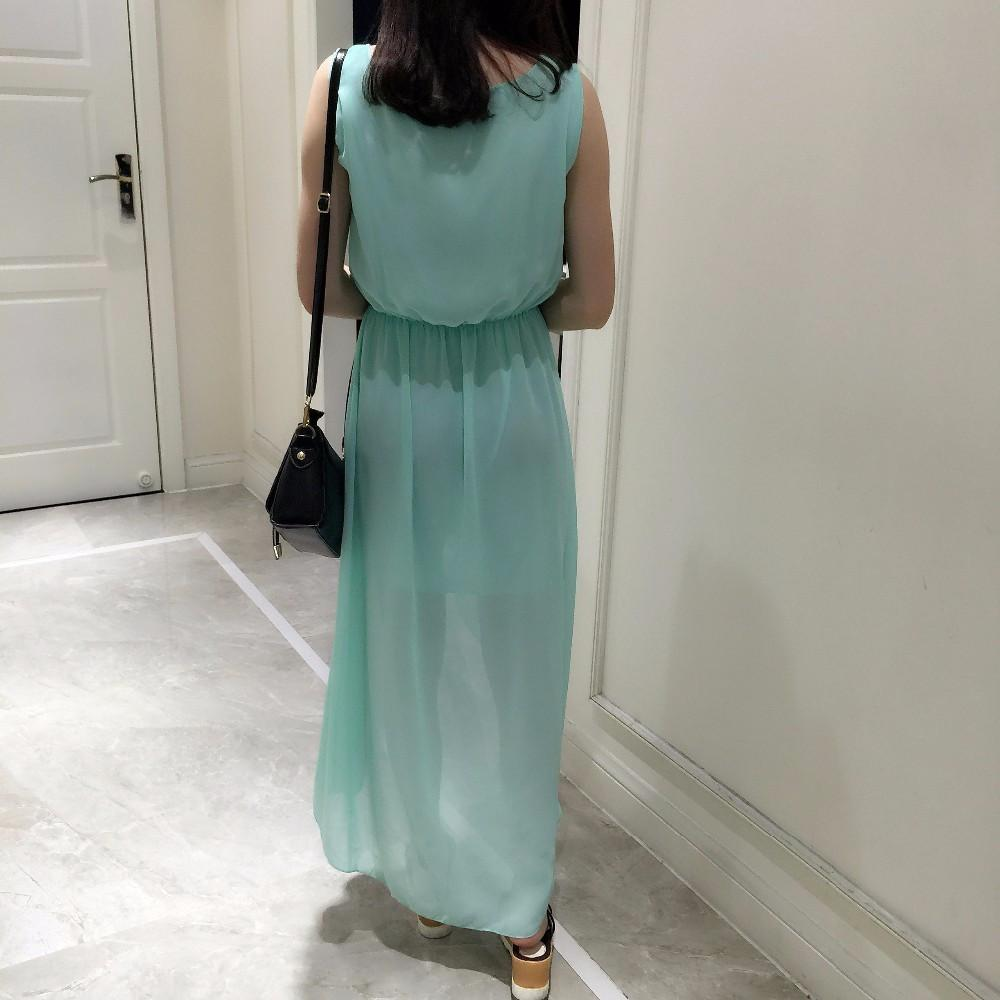 XXL New Summer Ladies Long Chiffon Low-High Sexy Dress Fashion Mint Green/Leopard Summer Dress Casual Brand Dresses D46513-Dress-SheSimplyShops