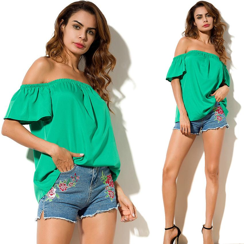Women Summer Style Off Shoulder Tops Clothing Slash Neck Solid Fashion Casual Blouse-Blouse-SheSimplyShops