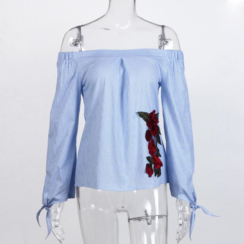 Off Shoulder Blouse With Embroidery Flowers Fashion Summer Tops Women Shirts Casual Striped Floral Blouses Long Sleeve-Blouse-SheSimplyShops