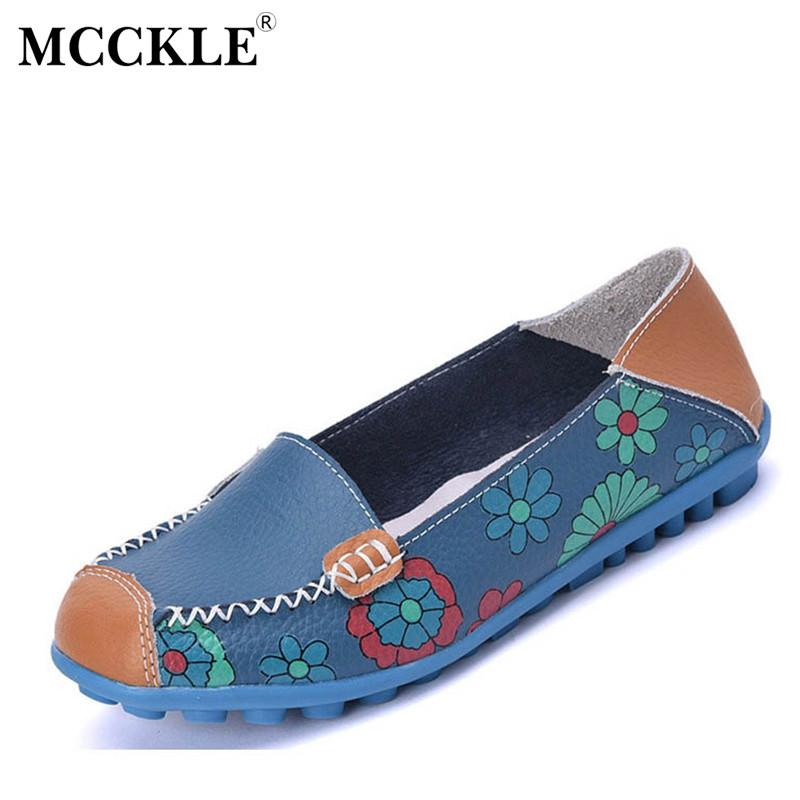 Spring Women Casual Shoes Female Genuine Leather Printing Loafers Shoes Woman Fashion Slip On Shallow Flats Shoes-SLIPS-SheSimplyShops