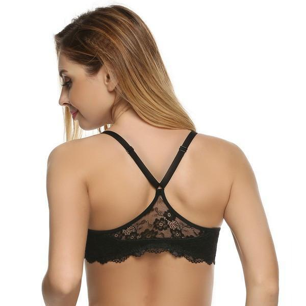 Fashion Women Bra Front Closure Sexy Lace Racer Black Smooth Surface Push Up Underwear Lingerie Sujetador Bra for Women-UNDERWEAR-SheSimplyShops
