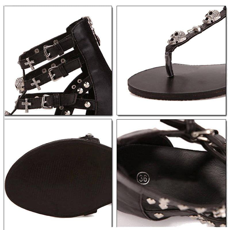 Woman Fashion Thong Sandals Rhinestone Crosses Skull Rome Buckle Women Flats For Ladies Rivets Zip Female Shoes-SHOES-SheSimplyShops